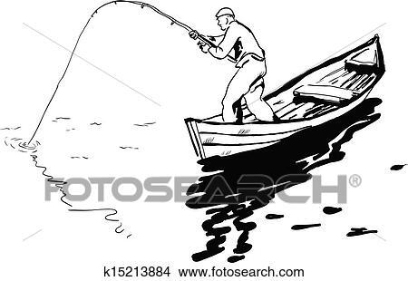 Fisherman In Boat Clipart K15213884 Fotosearch