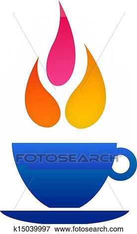 Flame coffee logo Clip Art | k15039997 | Fotosearch