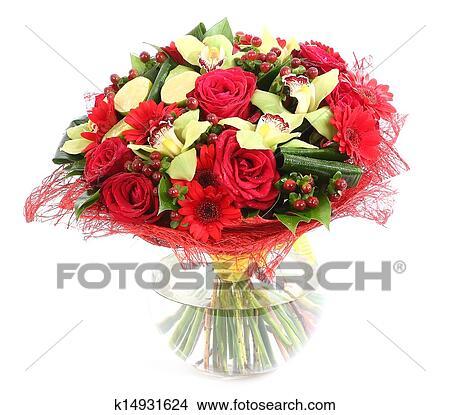 Stock Photo Of Flower Arrangement In Glass Transparent Vase Red