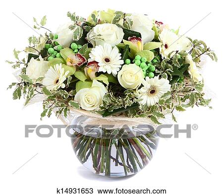 Stock photo of flower arrangement in glass transparent vase white flower arrangement in glass transparent vase white roses orchids white gerbera daisies green peas isolated on white background floristic composition mightylinksfo