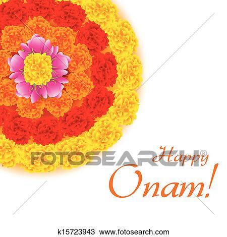 Illustration Of Flower Rangoli Decoration For Onam