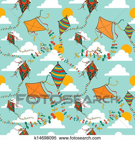 Clipart Of Flying Kites Seamless Pattern K14698095 Search Clip Art
