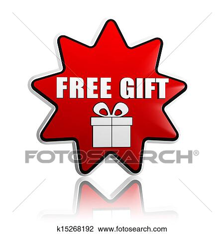 Clip Art Of Free Gift With Present Box Symbol In Red Star Banner