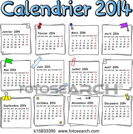 Clipart Of French Calendar 2014 K15833395 Search Clip Art