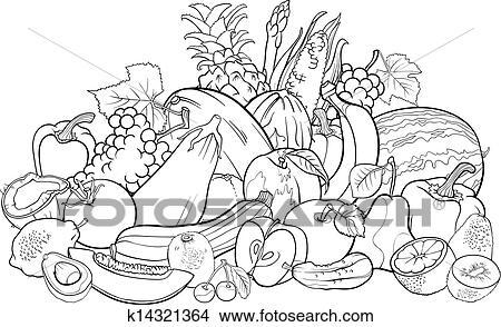 Clipart - frutas y vehículos, para, libro colorear k14321364 ...