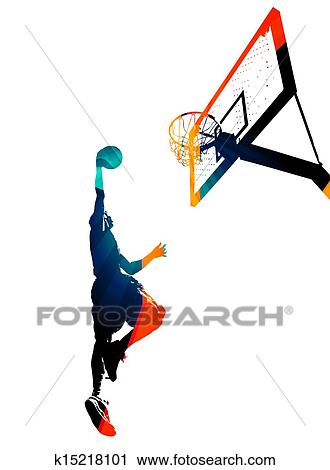 Clipart Of Funky Basketball Slam Dunk K15218101 Search