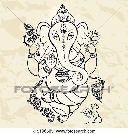 clipart  ganesha main dessiné illustration k15196585