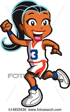 clipart of girl basketball player k14833435 search clip art rh fotosearch com Basketball Girl Player Clip Art girl basketball clip art