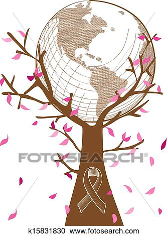 Clipart Of Global Collaboration Breast Cancer Awareness Concept Tree