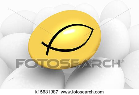 Stock Illustration Of Gold Egg Among The Usual With A Symbol Of