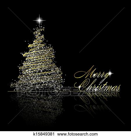 Clipart Golden Christmas Tree Made Of Gold Ribbons And Stars On Black Background Vector