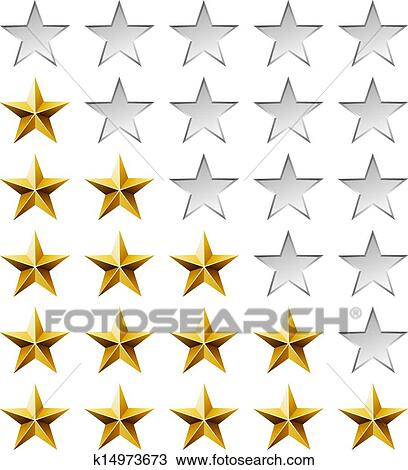 Clipart Golden Stars Rating Template Isolated On White Background Fotosearch Search Clip