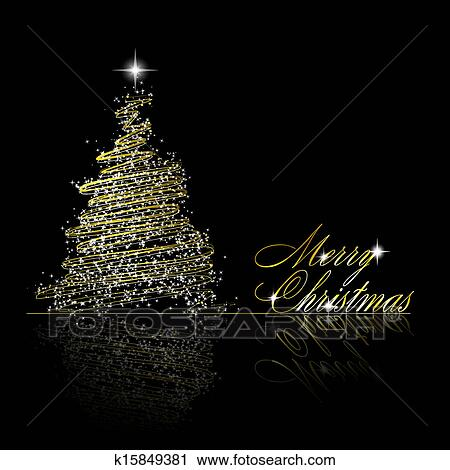 Weihnachtsbaum Schwarz.Goldenes Weihnachtsbaum Gemacht Von Gold Bänder Und Sternen Auf Schwarz Hintergrund Vektor Eps10 Abbildung Clipart