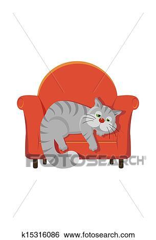 Grauer Tabby Katze Liegen Auf A Stuhl Stock Illustration