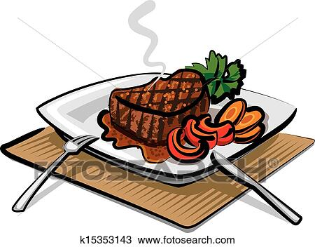 clipart of grilled beef steak k15353143 search clip art rh fotosearch com clipart sticking tongue out clip art steak fry