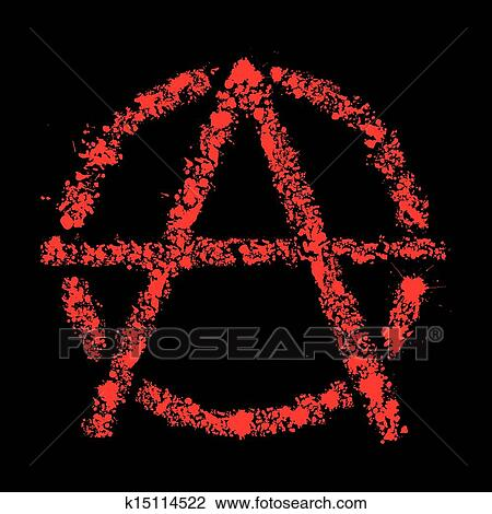Clipart Of Grunge Anarchy Symbol Vector Illustration K15114522