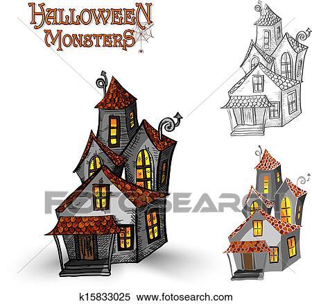 Halloween Monstres Maison Hantée Illustration Eps10 Fichier Clipart
