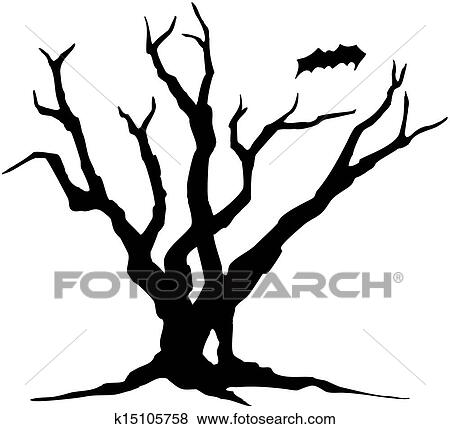 Clip Art Of Halloween Tree Silhouette K15105758