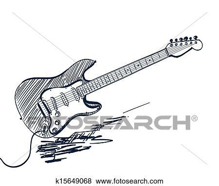 Clip Art - hand, gezeichnet, elektrische gitarre, weiß k15649068 ...
