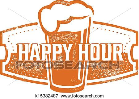 Clip Art Of Happy Hour Beer Specials K15382487