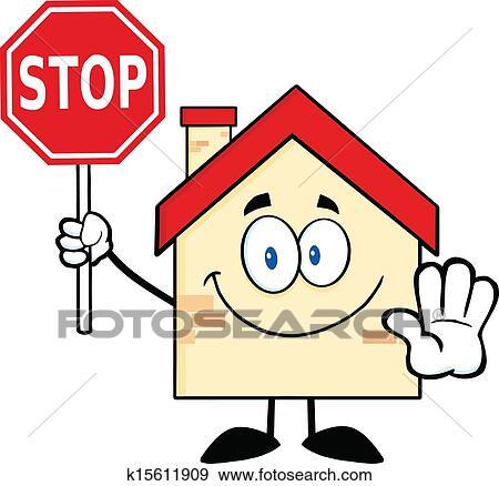 Clip Art Haus Halten A Stopschild K15611909 Suche Clipart