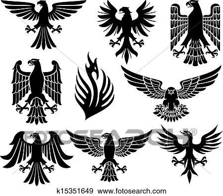 Heraldic eagle set Clip Art   k15351649   Fotosearch