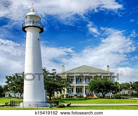 Historic Lighthouse In Biloxi Ms Stock Image K15419152 Fotosearch