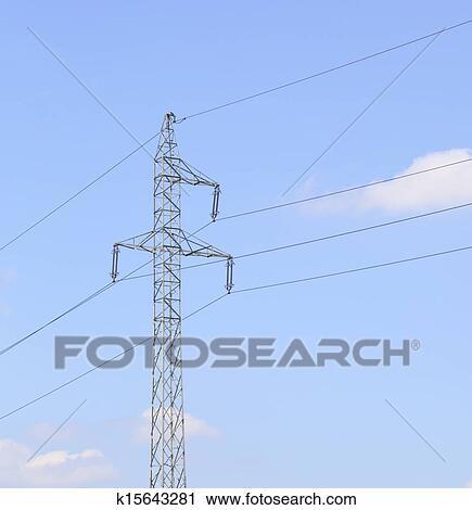 Stock Fotografie - hochspannung, draht, turm, elektrizität, masten ...