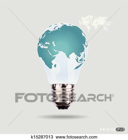 Clipart of illustration of an electric light bulb with a world map clipart illustration of an electric light bulb with a world map vector eps10 publicscrutiny Images
