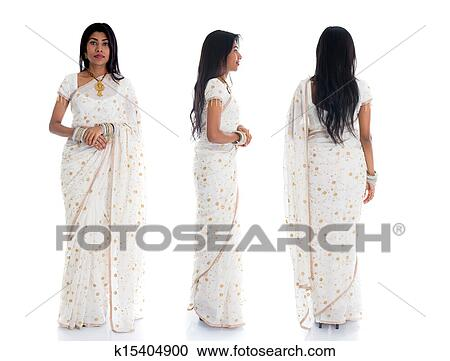 2b7b0f3cb2 Indian female in traditional saree dress in various position full body