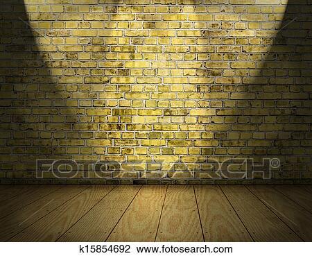 Fußboden Aus Ziegel ~ Stock foto innen hintergrund mit gelbe ziegelstein wand und