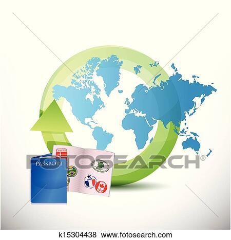 Clip Art Of International Travel Concept Illustration Design
