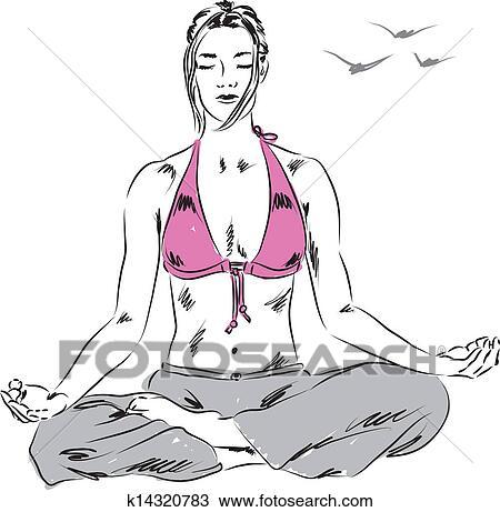 clipart of girl in yoga relaxing position illu k14320783