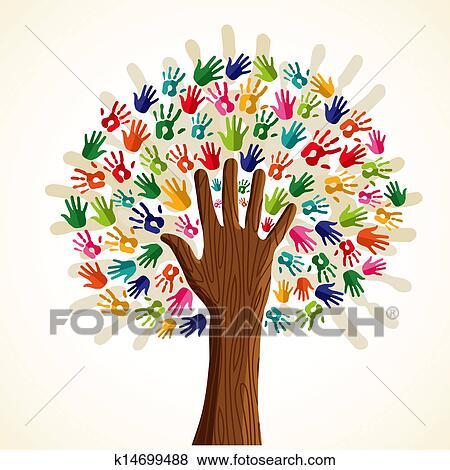 Clipart color multi ethnique arbre k14699488 - Dessin colore ...