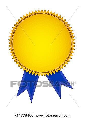 Stock Illustration of Gold Award Medal with Blue Ribbon k14778466 ...