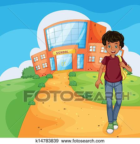 Clip Art of A red school building k13785656 - Search Clipart ...