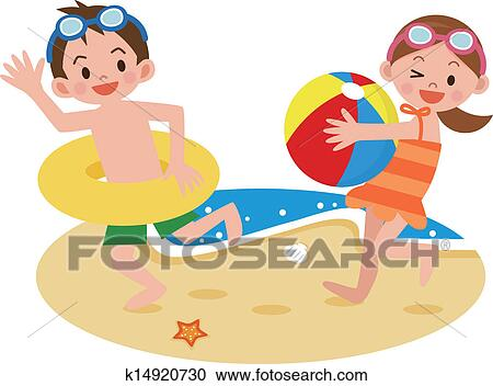 Clipart Of Children Playing On The Beach K14920730