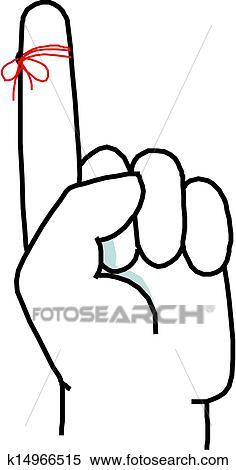 Clipart of String around the finger reminder k14966515 ...
