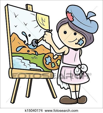 Gemälde clipart  Clipart - mädchen, gemälde, a, landschaft, auf, segeltuch ...