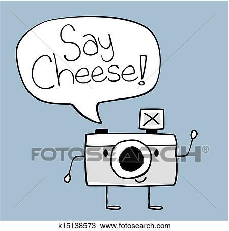 Extrem Clipart - dire, fromage, appareil photo, dessin animé k15138573  ZJ56