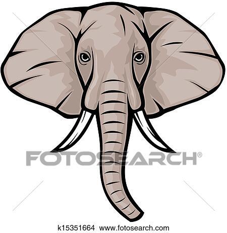 Clipart elefant hovede k15351664 s g i clipart - Tete elephant dessin ...