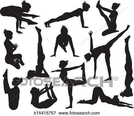 clip art of yoga poses silhouettes k15415757  search