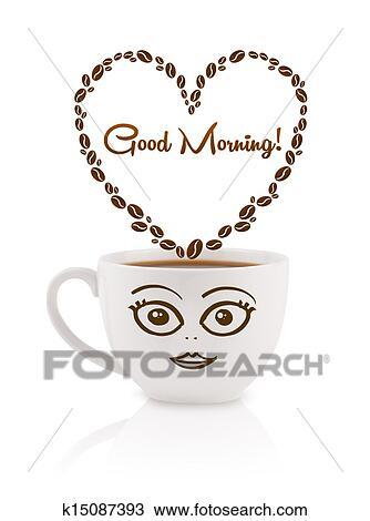 Kaffee Becher Mit Kaffeebohnen Geformt Herz Mit Guten