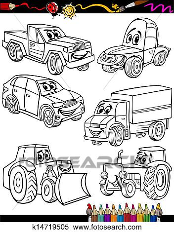 Karikatur Fahrzeuge Satz Fur Ausmalbilder Clipart K14719505