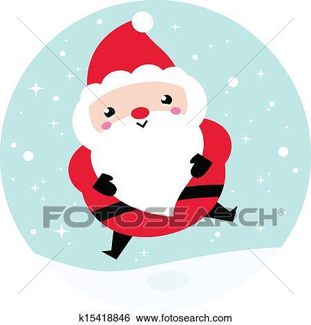Kawaii Christmas.Kawaii Christmas Santa On Snowing Background Clip Art