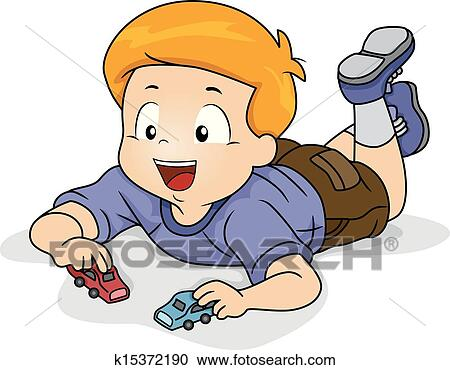 Clipart Of Kid Boy Playing Toy Car K15372190 Search Clip Art
