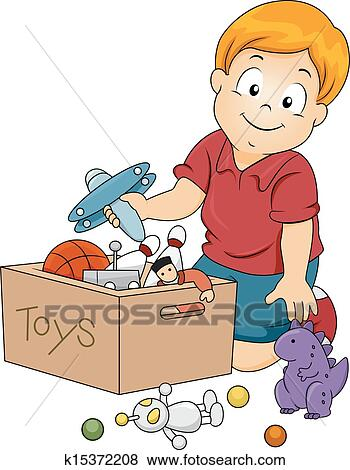 Clip Art Of Kid Boy Storing Toys K15372208 Search Clipart