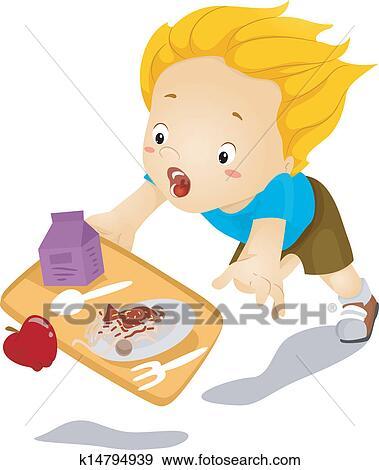 Clip Art of Kid Boy Tumbles Down and Drops Food k14794939 ...