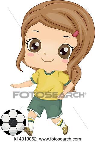 clipart of kid soccer girl k14313062 search clip art illustration rh fotosearch com girl soccer goalie clipart girl soccer goalie clipart