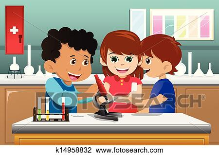 clipart of kids learning science in a lab k14958832 search clip rh fotosearch com Science Teacher Clip Art Science Fair Clip Art